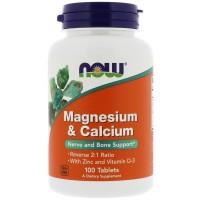 Now Foods Magnesium & Calcium (100 tabs)