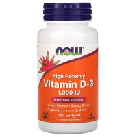 Now Foods Vitamin D-3 1'000 IE (180 Softgelkapseln)